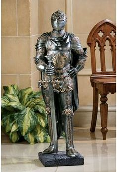 Design Toscano The King's Guard Medieval Decor Half Scale Knight Armor Gothic Statue, 39 Inch, Polyresin, Two Tone Metallic Medieval Knight Armor, Medieval Gothic, Armadura Medieval, Street Gallery, Knight In Shining Armor, Museum, Suit Of Armor, Wall Sculptures, 16th Century