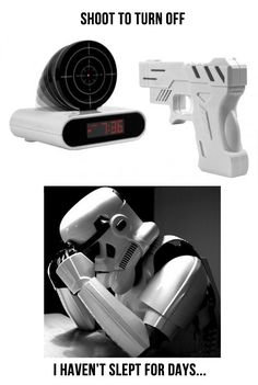 The Stormtrooper versus the alarm clock.. haha it's so true. they are bad shots....