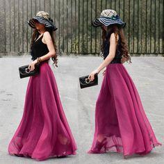 17 Colors Double Silk Chiffon Long Skirt / Summer Skirt/ Maxi Dress/ Bridesmaid Dress.