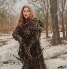 Alive For Art Inspiration | Artist interview w/ pics! Lane Brown is an award-winning freelance illustrator...Redheaded Female Archer Holds Crossbow In Snowy Forest Terrain