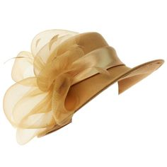 Elegant luxurious 100% Soft Wool felt big tulle floral arrangement with life like feathers and luxurious satin hatband. Dramatic and eye catching. Soft and feminine. Position the floral arrangement any way you like, front, side or back.