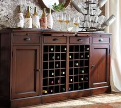 Modular Bar Buffet with 2 Wine Grid Bases & 2 Cabinets | Pottery Barn