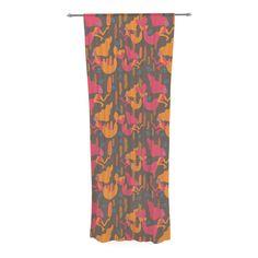 "Akwaflorell ""Mermaids II"" Pink Orange Decorative Sheer Curtain"