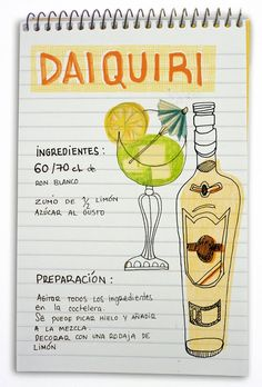 Daiquiri: cóctel con ron                                                                                                                                                                                 Más Bar Drinks, Cocktail Drinks, Cold Drinks, Yummy Drinks, Alcoholic Drinks, Beverages, Daiquiri, Alcohol Recipes, Wine And Beer