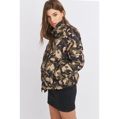 Light Before Dark Cropped Quilted Khaki Camo Jacket (860 SEK) ❤ liked on Polyvore featuring outerwear, jackets, khaki, camo print jacket, long sleeve jacket, camoflauge jacket, button jacket and zip jacket