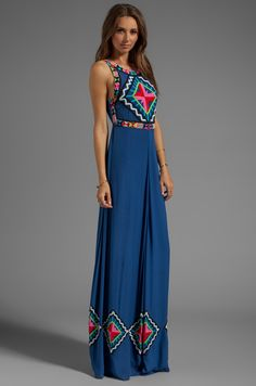 Mara Hoffman Beaded Gown in Denim | REVOLVE