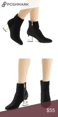 BLACK VELVET BOOTIES Black Velvet upper Side zipper closure Gold Heel Runs true to size. PRICE FIRM!! Style Link Miami Shoes Ankle Boots & Booties