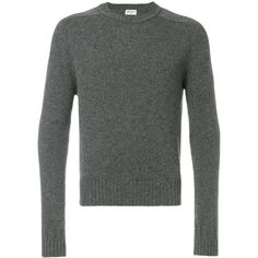 Saint Laurent crew neck sweater ($790) ❤ liked on Polyvore featuring men's fashion, men's clothing, men's sweaters, grey, mens grey sweater, men's grey crew neck sweater, mens crewneck sweaters, mens gray sweater and mens crew neck sweaters