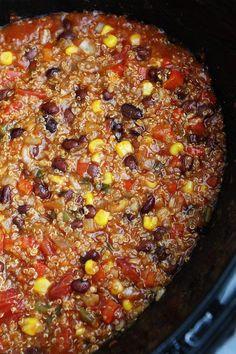 Slow cooker enchilada quinoa recipe on twopeasandtheirpod com this easy crockpot meal is always a favorite! 15 instant pot comfort foods that mom used to make Vegan Crockpot Recipes, Veggie Recipes, Cooker Recipes, Vegetarian Recipes, Crockpot Meals, Vegan Vegetarian, Ground Beef Crockpot Recipes, Veggie Dinners, Fast Dinners