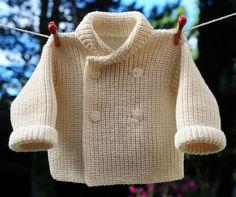 layette paletot 3 mois laine mérinos et cotes perlées neuf tricoté main : Mode Bébé par com3pom