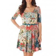 Elbow Sleeve Floral Dress with Belt