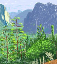 David Hockney (British, b. Yosemite I, October iPad drawing printed on six sheets of paper, mounted on six sheets of Dibond. David Hockney 'A Bigger Exhibition' at de Young Museum David Hockney Ipad, David Hockney Art, Ipad Art, Museum Of Fine Arts, Art Museum, Landscape Art, Landscape Paintings, Landscape Drawings, Mountain Landscape