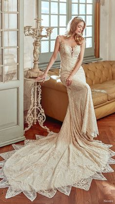 NICOLE SPOSE bridal 2017 cap sleeves sweetheart beaded sheath wedding dress (niab17128) mv train #bridal #wedding #weddingdress #weddinggown #bridalgown #dreamgown #dreamdress #engaged #inspiration #bridalinspiration #weddinginspiration #weddingdresses