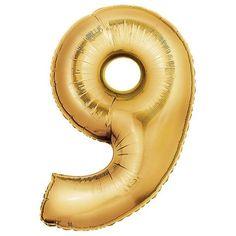 Number 9 Metallic Gold 40in Balloon