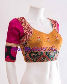 Readymade saree blouse online USA Premium range of blouses, croptops, handwork blouses which can be mixed and matched with variety of Sarees and lehengas . Choli Blouse Design, Pattu Saree Blouse Designs, Blouse Designs Silk, Designer Blouse Patterns, Dress Designs, Designer Dresses, Simple Blouse Designs, Stylish Blouse Design, Lehenga