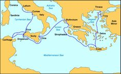 Book III Aeneas' travels take him to Buthrotum, on the coast of the Ionian Sea North of Greece
