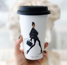 to-go coffee cup with Megan Hess illustration To Go Coffee Cups, Coffee Cup Art, My Coffee Shop, Coffee Cup Design, I Love Coffee, Tea Cups, Coffee Mugs, Coffee Break, Megan Hess Illustration