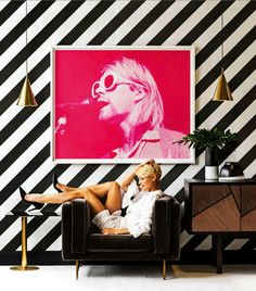 Kurt Cobain (Singing Pink) print by Jesse Frohman - found in the March issue of @reallivingmag Photo by Nick Scott and styling by Sarah Ellison. #realliving #kurtcobain #interiors #Inspiration