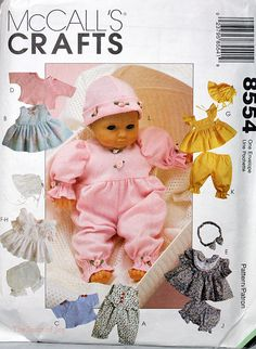 "Vintage McCalls 8554 Baby Doll Clothing 3 sizes"" 8""-10"", 11""-13"" and 14""-16 Wardrobe Small Medium Large   Sewing Pattern. $3.00, via Etsy."