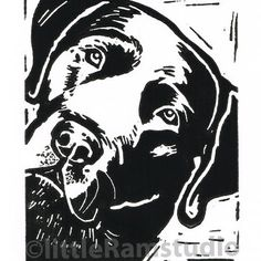 Black Labrador Dog - Original Hand Pulled Linocut Print £18.00