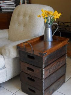 Soda Crate Sofa Table | Upcycled Soda Crate Projects | The Owner-Builder Network