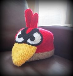 Angry Bird!! Crochet Hat! Angry Birds, Crochet Hats, Beanie, Diy, Knitting Hats, Bricolage, Beanies, Handyman Projects, Do It Yourself
