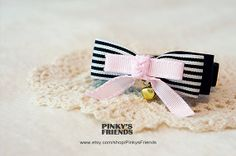 Baby Doll Pink Pet Bow Tie Collar with Bell, Pet Collar for Cats/Dogs by PinkysFriends, $18.50
