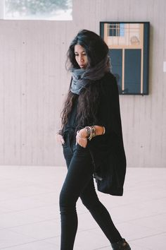 All black everything + circle scarf + boots...pretty much my go to