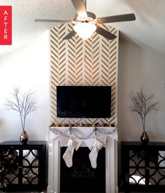 Adding a vinyl decal in a blank venue space could create a cool modern ceremony backdrop with no wall damage! Fireplace Tv Wall, Fireplace Design, Mantle Styling, Floors And More, Phoenix Homes, Apartment Living, Apartment Therapy, Rental Decorating, Small Space Living