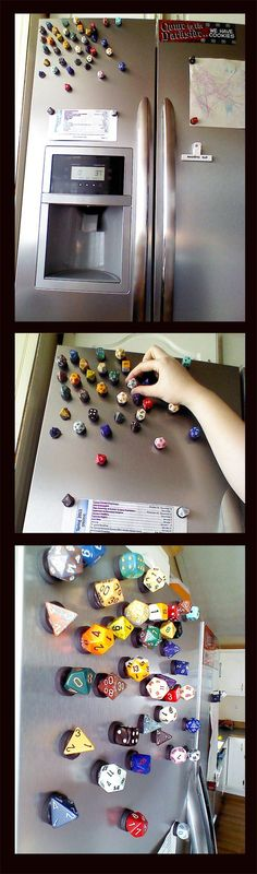 DnD Dice Fridge Magnets:  Awesome sauce.  Only trouble I see here is keeping these away from the kitties.