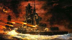 Painting of Japanese battleship Kirishima's last battle as it is sunk by the USS Washington at Guadalcanal.