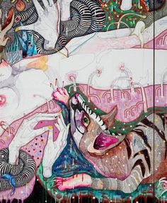come of things, by Del Kathryn Barton :: The Collection :: Art Gallery NSW Australian Painting, Australian Artists, Del Kathryn Barton, 20th Century Painters, Yellena James, Painting & Drawing, Drawing Board, Paper Animals, Artist At Work