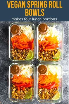 Delicisous recipe for vegan spring roll bowls that make four lunch portions that you can enjoy through the week! With crumbled tofu, crunchy veggies, and a tangy peanut sauce. #sweetpeasandsaffron #vegan Best Lunch Recipes, Healthy Meat Recipes, Vegan Recipes, Top Recipes, Amazing Recipes, Snack Recipes, Cooking Recipes, Vegetarian Meal Prep, Healthy Meal Prep