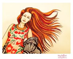 Fashion marker sketch / Red head girl from May Bellfort