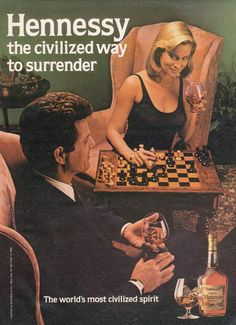 Hennessy Cognac Ad Couple Playing Chess Photo Vintage Advertisement Print Bar Wall Art Decor