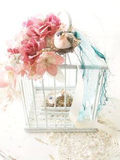 Shabby Chic Bird Cage. Cottage Romance Decor.  Love Birds . Victorian Style Wood…