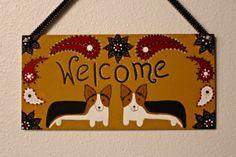 Corgi Welcome Door  Decoration New Design by MaxMinnieandMe, $20.00