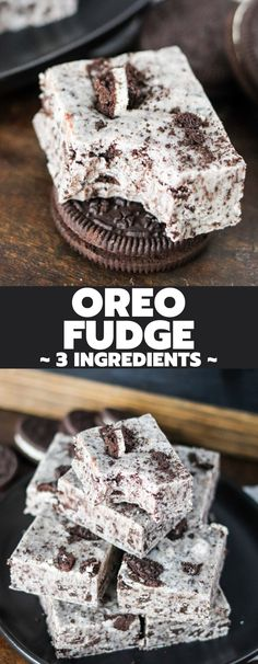 Making Oreo fudge is so easy with this 3 ingredient recipe! It has the perfect texture, and it's likely you already have all the ingredients! Fudge Recipes, Candy Recipes, Sweet Recipes, Dessert Recipes, Bar Recipes, Yummy Recipes, Small Desserts, Easy Desserts, Delicious Desserts