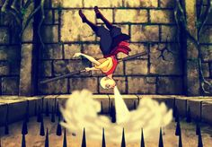 """Awesome air bending skills followed by a great line """"Zuko, I think the past is trying to kill me!"""""""
