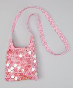 Capelli New York Pink Paillette Crocheted Crossbody Bag fd000333396ad