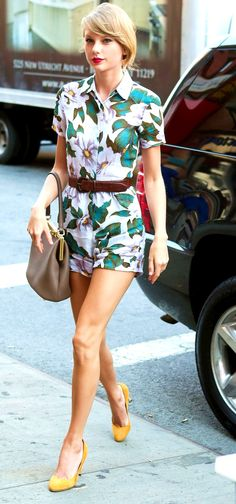 Taylor Swift ; Arriving at the gym, New York, July 2014 ; Reformation romper, Gucci shoes & Dolce & Gabbana bag