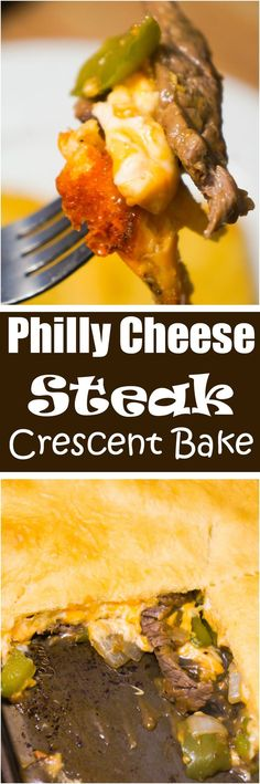 Cheese Steak Crescent Bake is an easy dinner recipe with all the flavours of the classic Philly Cheese Steak Sandwich. Sliced steak, green peppers, onions and cheddar cheese are topped by a sheet of Pillsbury crescent roll dough. Philly Cheese Steaks, Entree Recipes, Easy Dinner Recipes, Cooking Recipes, Dinner Ideas, Easy Dinners, Supper Ideas, Sandwich Recipes, Easy Recipes