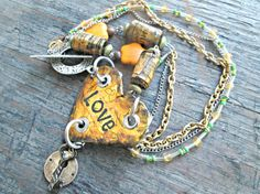 Love Necklace  Romantic Boho Necklace  Paper by EarthChildArt