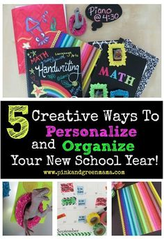 Pink and Green Mama: Head Back to School with 5 Creative Ways to Personalize and Organize Your New School Year! Diy Back To School, Back To School Supplies, New School Year, First Day Of School, School Days, Middle School, Future School, School Stuff, Back To School Organization