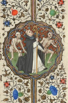 Two Skeletons leading away an Abbot | Book of Hours | France, Paris | 1430-1435 | The Morgan Library & Museum