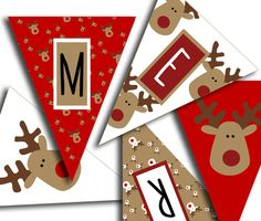 Merry Christmas Banner - Christmas Party Printable Sign, Christmas Bunting, Red White & Brown Reindeer DIY Printable Banner INSTANT DOWNLOAD - pinned by pin4etsy.com
