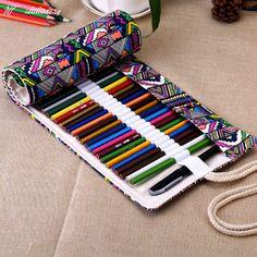 Borsa di tela matita 36/48 piegato Roll matite Pouch Craft Supplies borse grande…