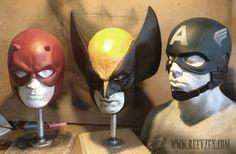 Daredevil mask cowl, Wolverine mask cowl & Captain America helmet by Reevzfx