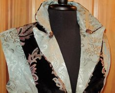Fancy Mint Green And Black Brocade Vest by outoftheloftclothing on Etsy, $119.00