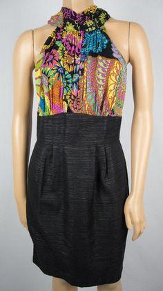 TRINA TURK Dress 4 S Multi Texture Silk Weave Skirt Bold Floral Print Tie Back